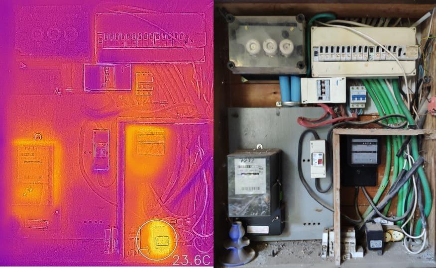 צילום אינפרא של לוח חשמלי