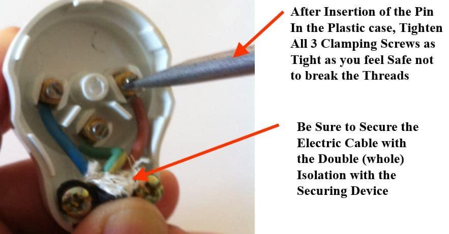 אבטחת החיבור של הכבל החשמלי